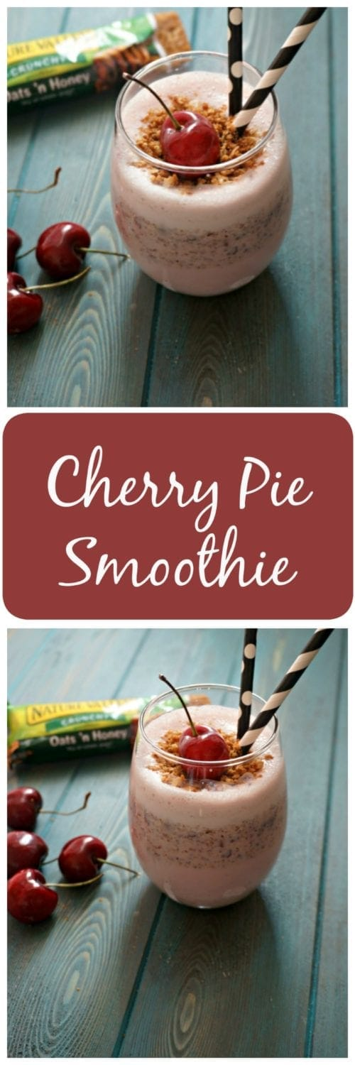 "Cherry Pie Smoothie: All the flavors of a cherry pie in smoothie form complete with a crust ""crumble""."
