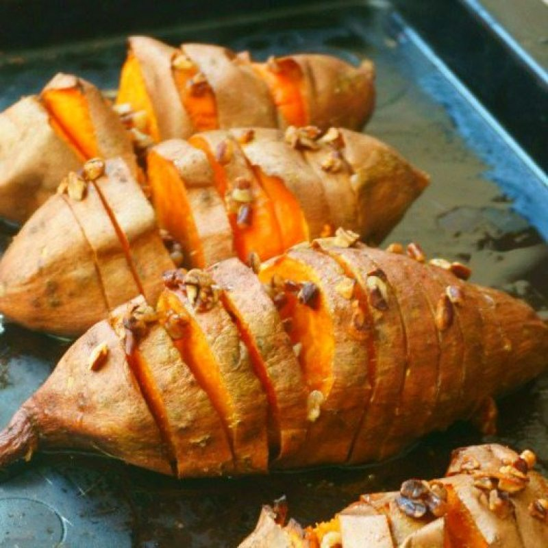 Sweet Potato Hasselback Potatoes