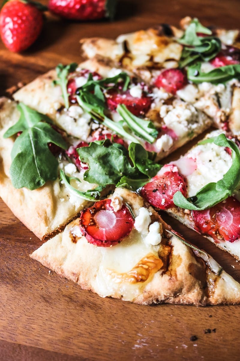 Arugula and Strawberry Pizza with Rosemary, Feta, and Balsamic