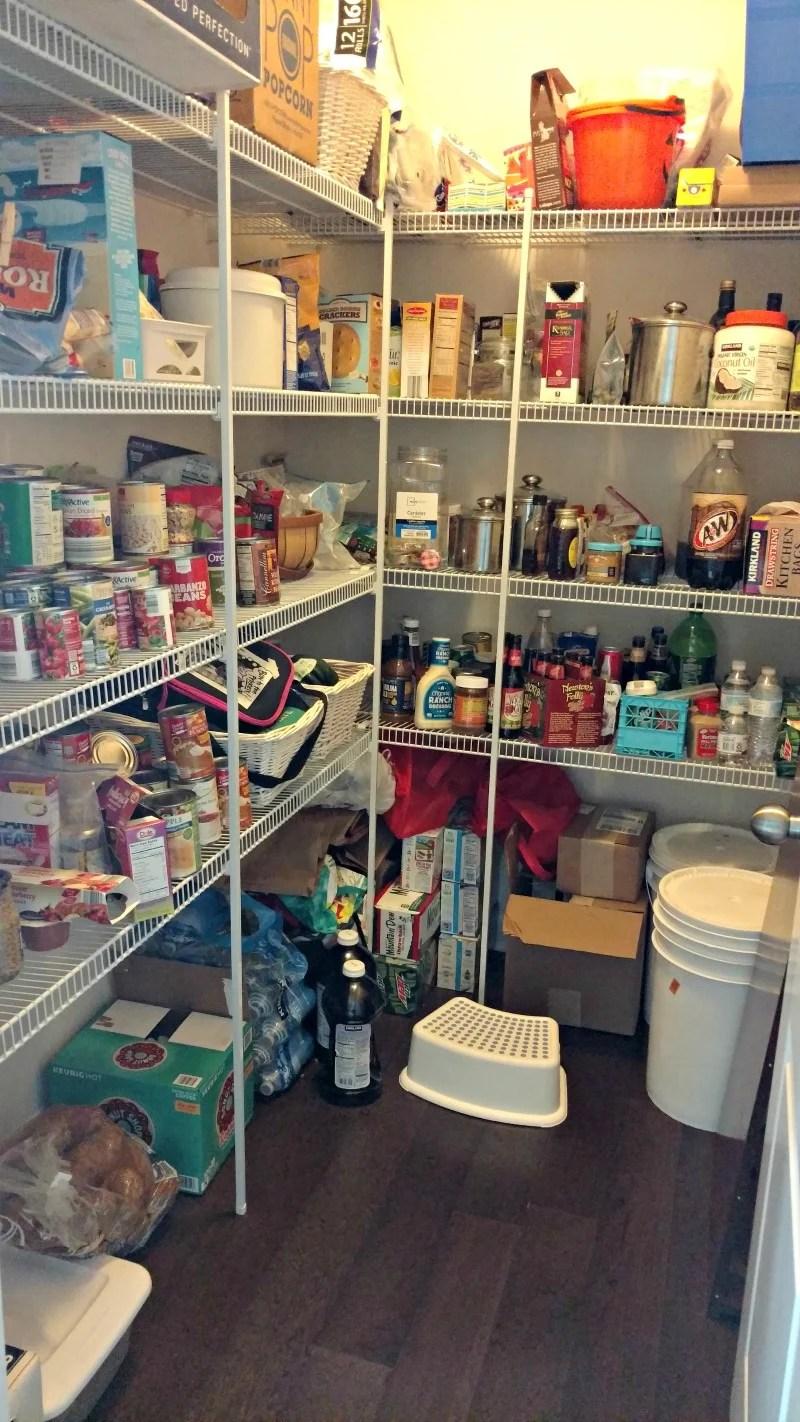 A messy disorganized pantry.