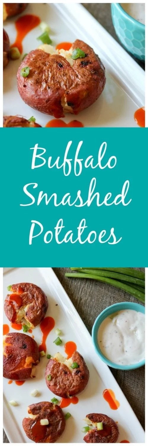 Buffalo Smashed Potatoes: Crispy roasted red potatoes tossed in spicy buffalo sauce.