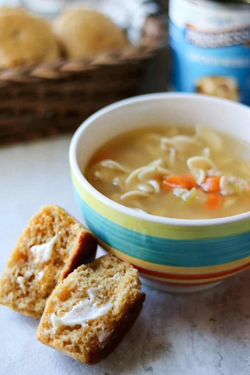 Light Chicken Noodle Soup with Honey Whole Wheat Cornbread Muffins #SoupMyWay