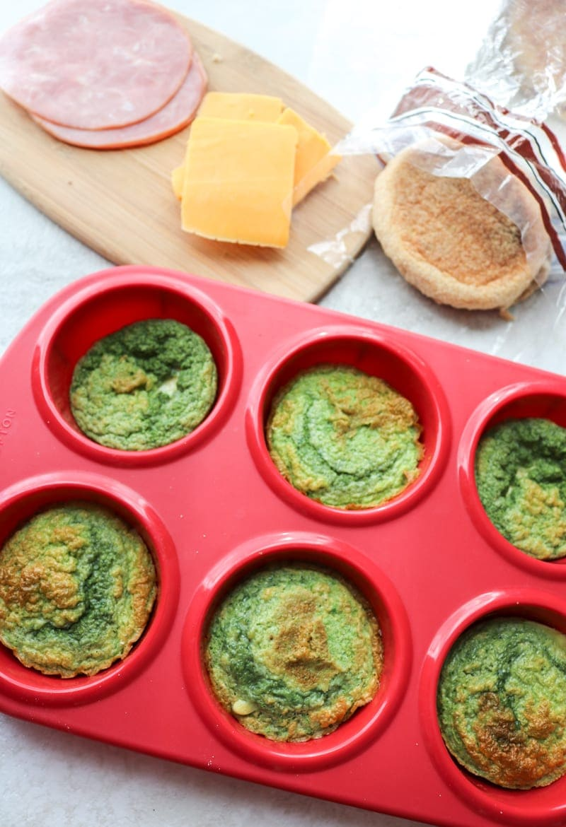 Spinach Egg Muffins with Ham, Cheese, and Muffins