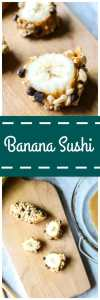 """Chocolate Peanut Butter Banana Sushi: Bananas are coated in peanut butter and dipped into a crunchy coating for a fun kid-friendly dessert """"Sushi."""""""