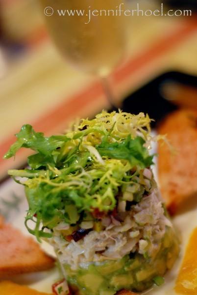 crab tower with avocado and gazpacho salsas
