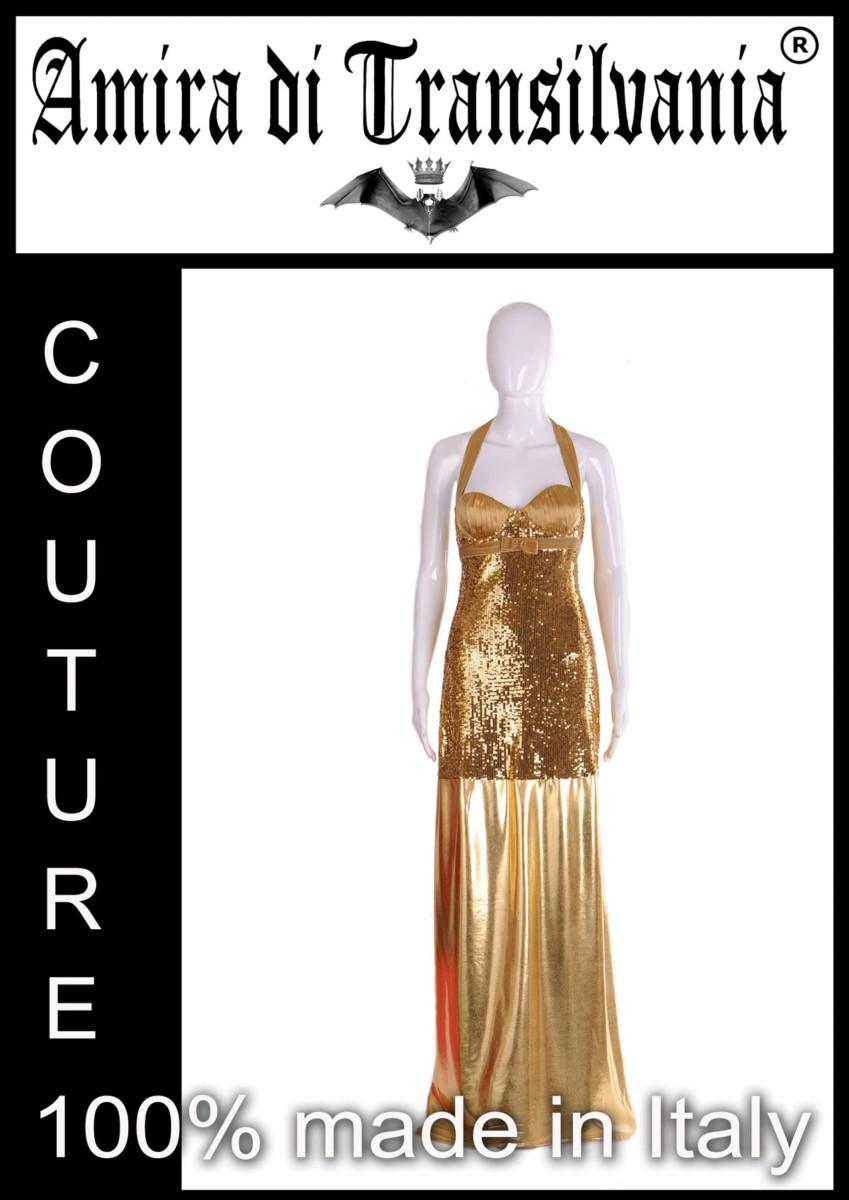 Abito couture oro con paillette