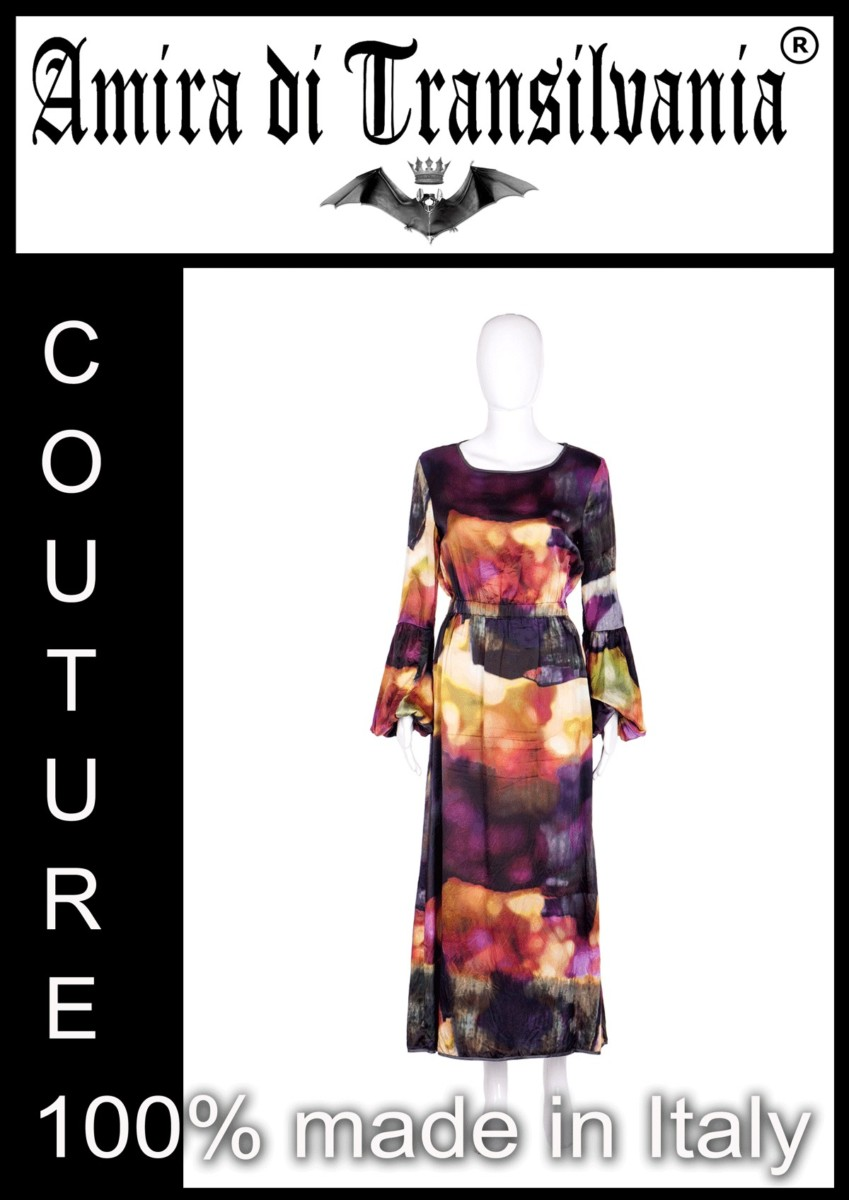 Abito couture in seta multicolore