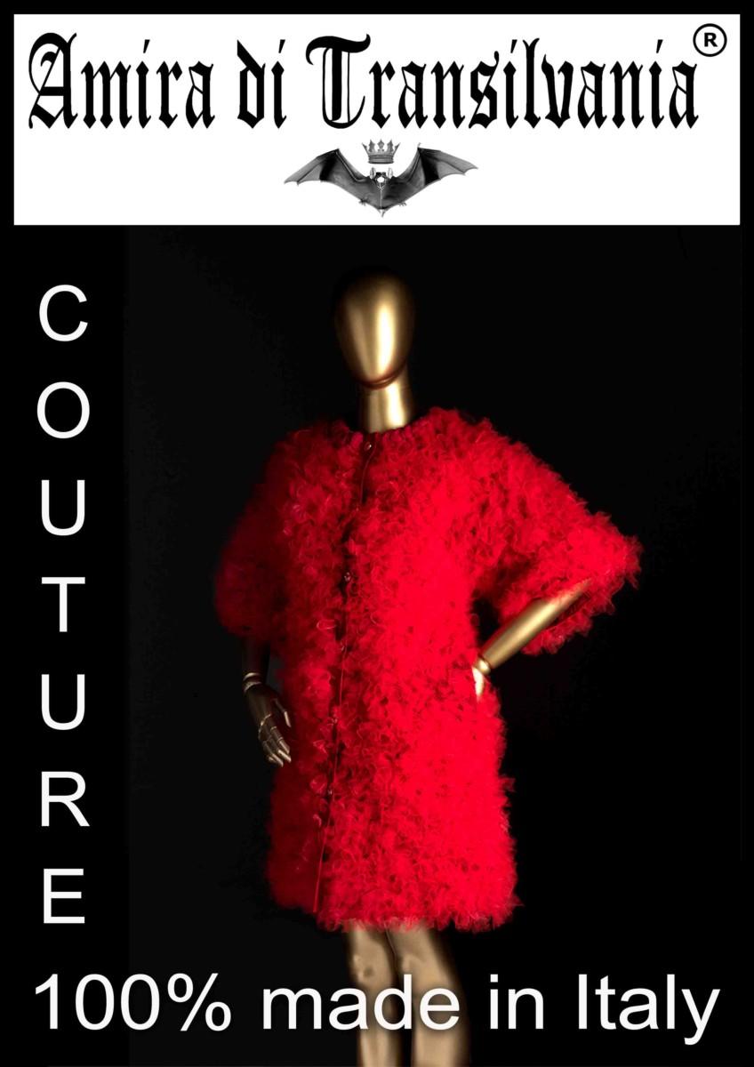 pelliccia in tulle rosso