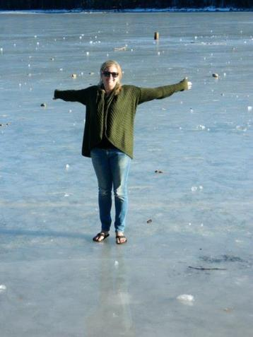 January - I spent New Year's in Bear Valley, California and walked on a frozen lake!