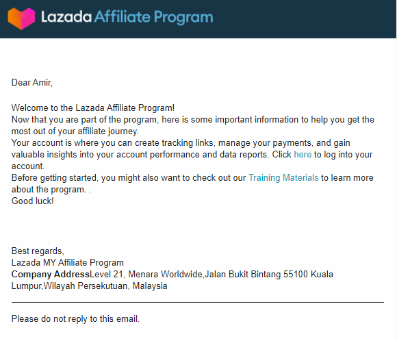 email verification success lazada affiliate