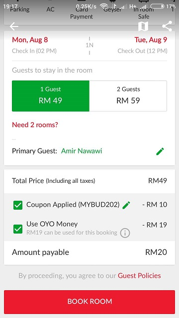 oyo rooms discount code