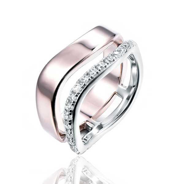טבעת כסף עיגול משובץ