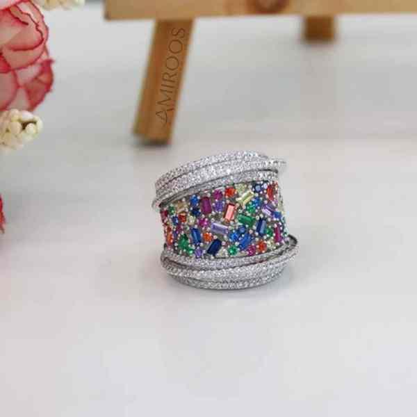 טבעת צבעונית מכסף