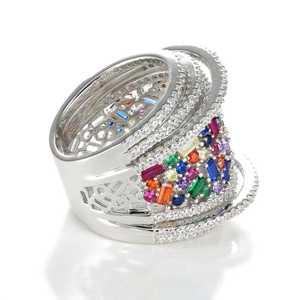 טבעת כסף צבעוני