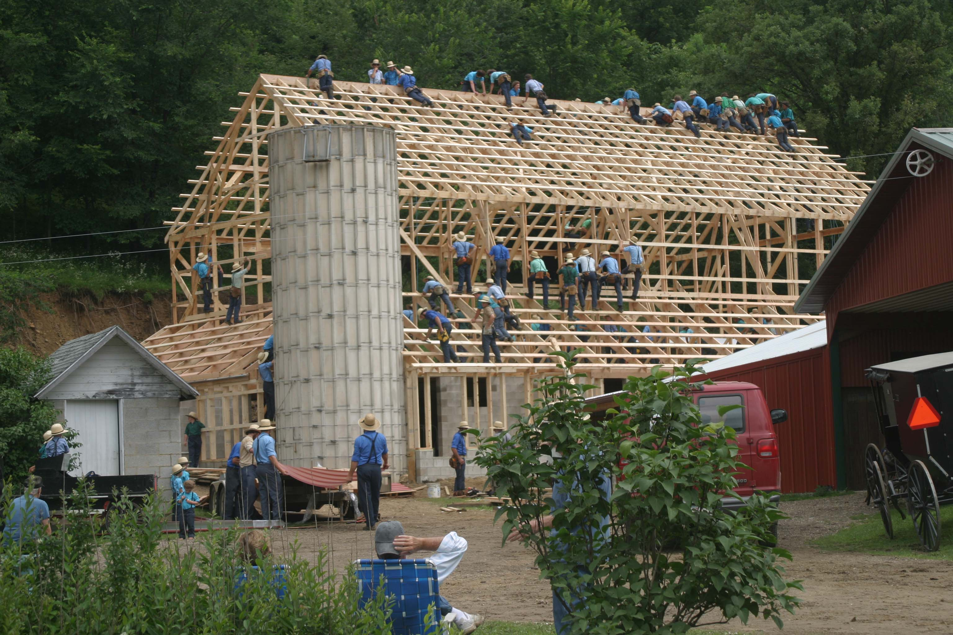 wisconsin amish barn raising