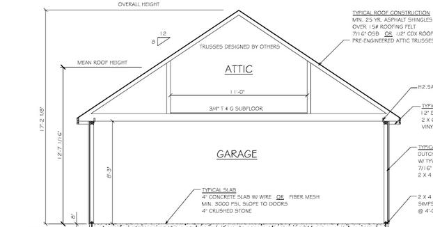 Amish Garage Blue Print With Attic
