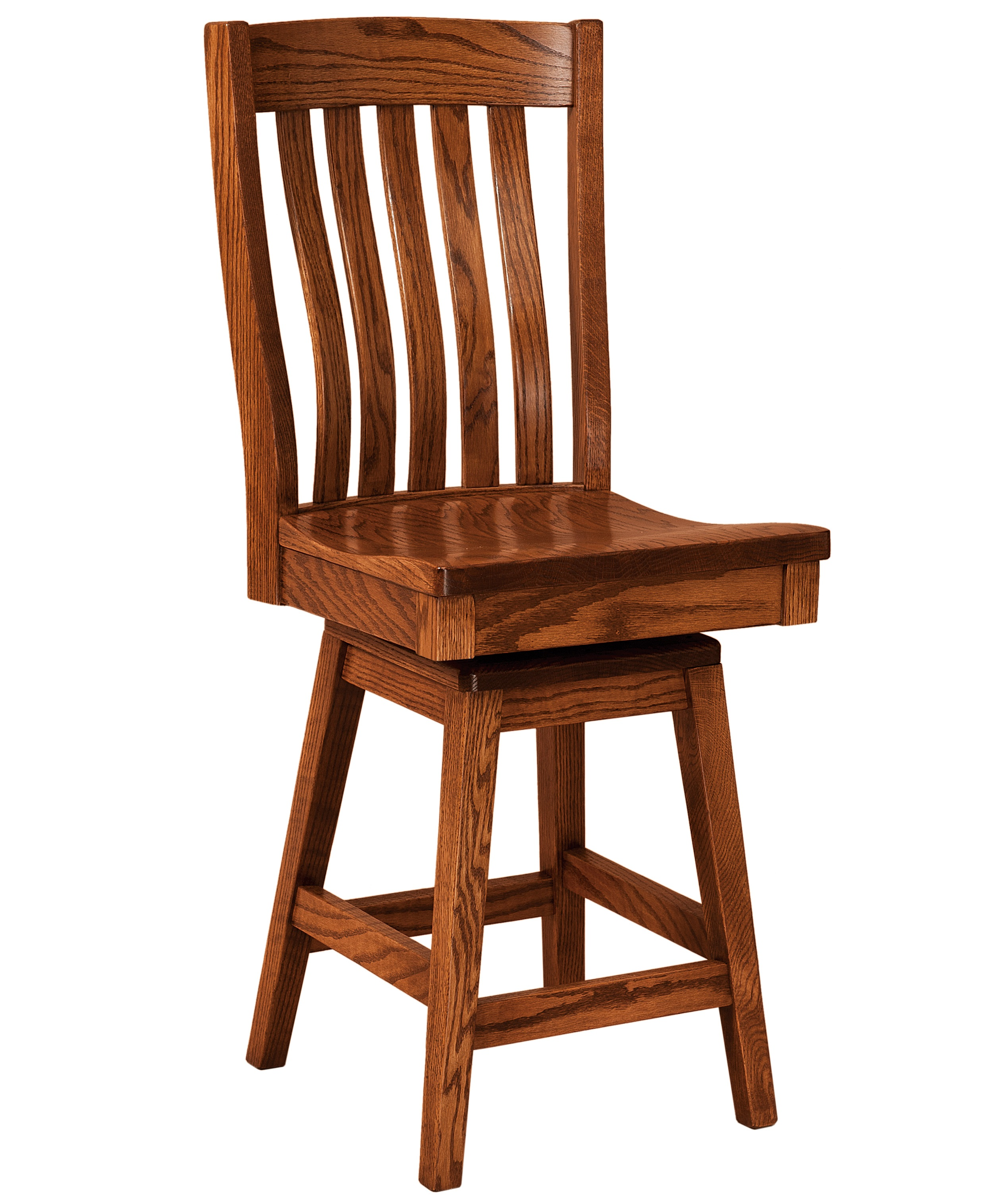FN Amish Chairs  Swivel Counter Height Stool  Wood Seat