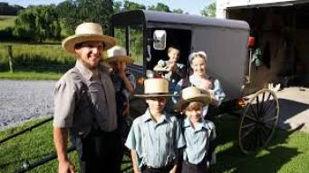 Typical Amish family with buggy