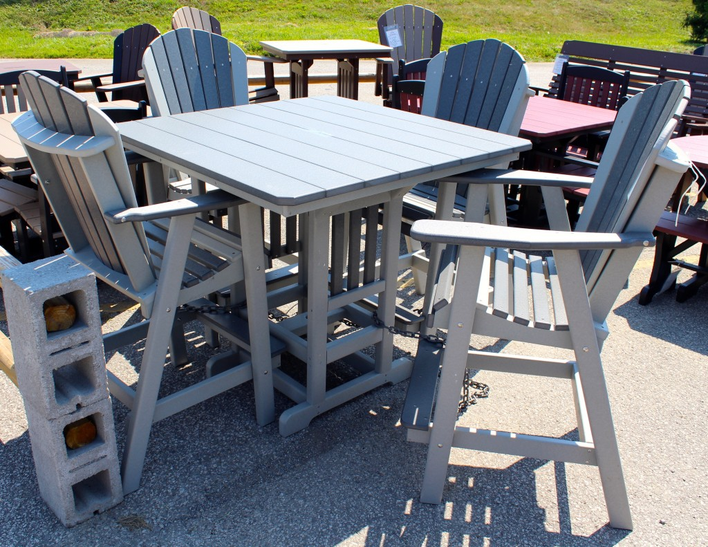 Adirondack Chair Set Poly 44 Square Bar Height Table And Adirondack Chair Set Amish