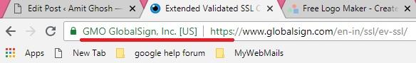 Extended Validation Certificate address bar