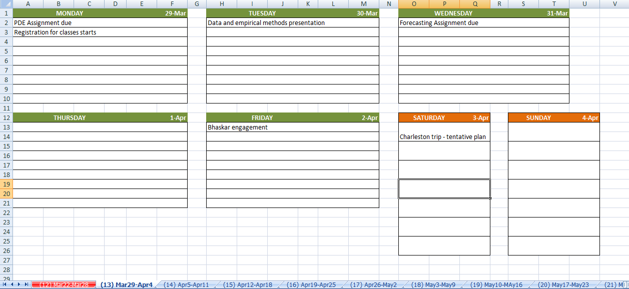 semester at a glance template