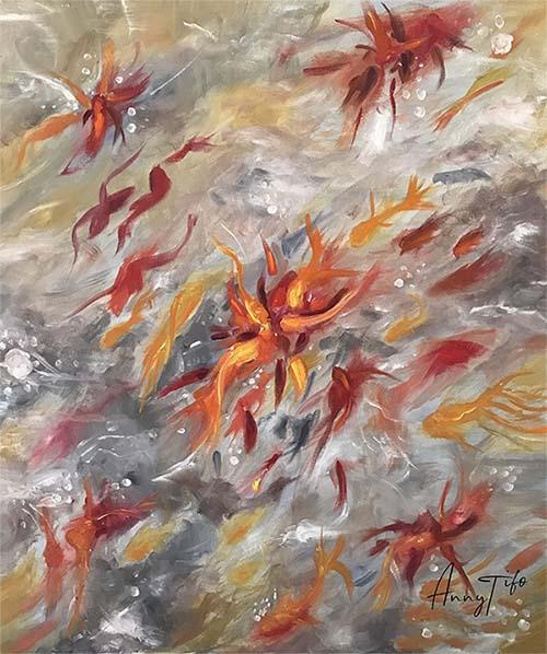 Peinture de poissons dans un jardin d'eau