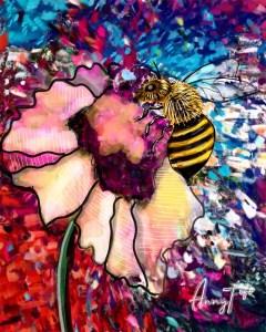 Dessin d'une abeille sur une fleur