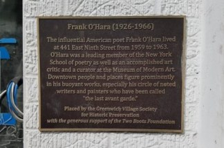 Frank O'Hara plaque placed by Greenwich Village Society