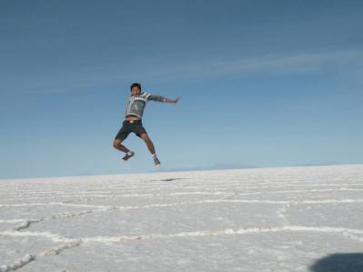 Me jumping on the salt flat