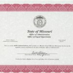 State of Missouri - Office of Administration - Office of Equal Opportunity certifies AMM Communications as a WBE