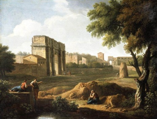 A View of the Forum, painted by Giovanni Battista BUSIRI