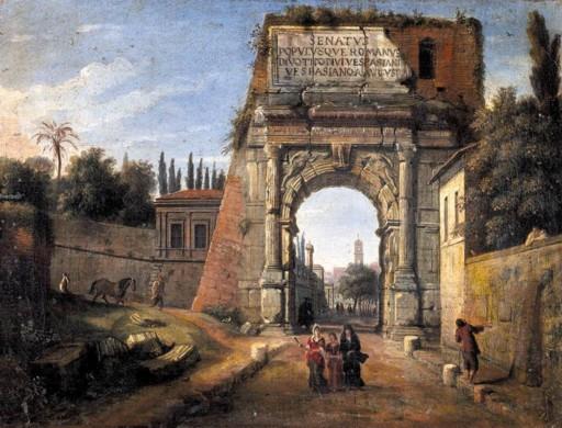 View of the Arch of Titus painted by Caspar Andriaans van WITTEL