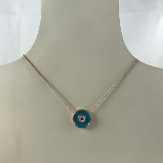 Blue Rose Gold Necklace
