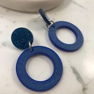 Blue Greek Key Earings