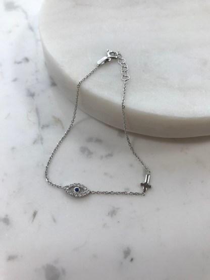 Silver Mati Cross Bracelet