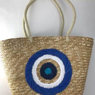 Blue Straw Mati Tote