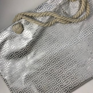 Silver Metallic Foil Meander Beach Tote