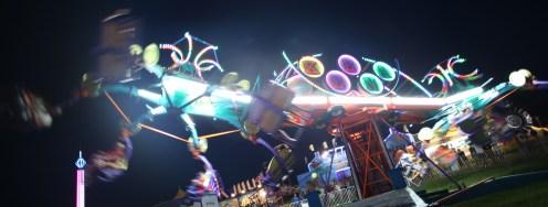 "Fairgoers get spun around on the ""Keena"" ride at the Boyle County Fair Wednesday night."