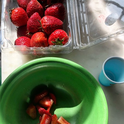 Cut the strawberries small.