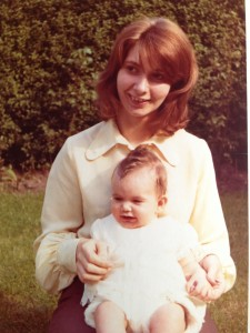 My mum and I in gran aka Betty's garden at 49 Tennent Road, Acomb, York
