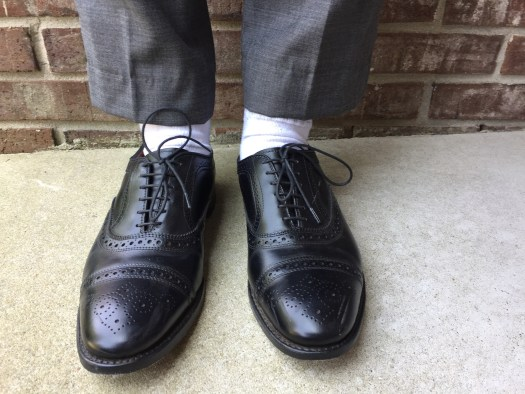 white athletic socks dress shoes