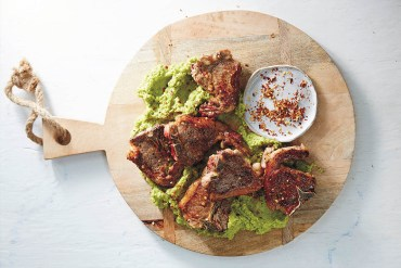 Lucky Lamb Chops with Green Pea Smash, Food To Make You Glow by Lola Berry