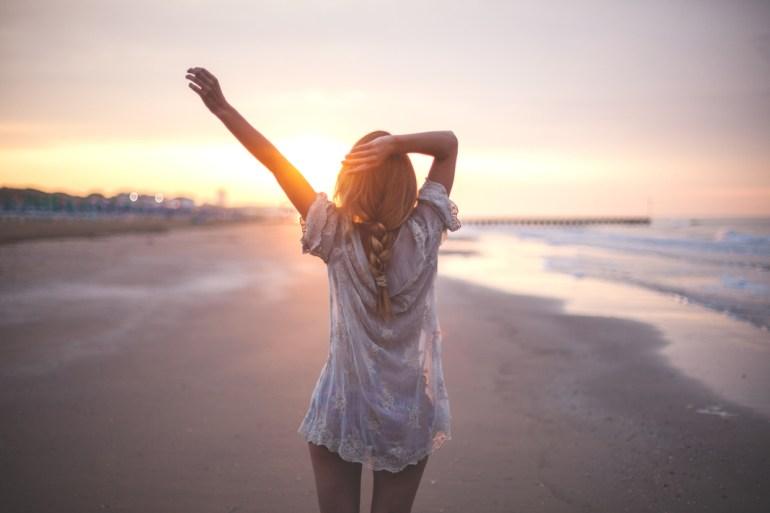 woman beach memory