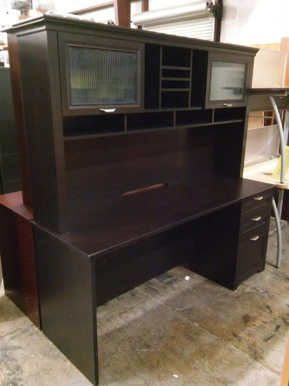 Espresso Executive Desk with Hutch Magellan Performance