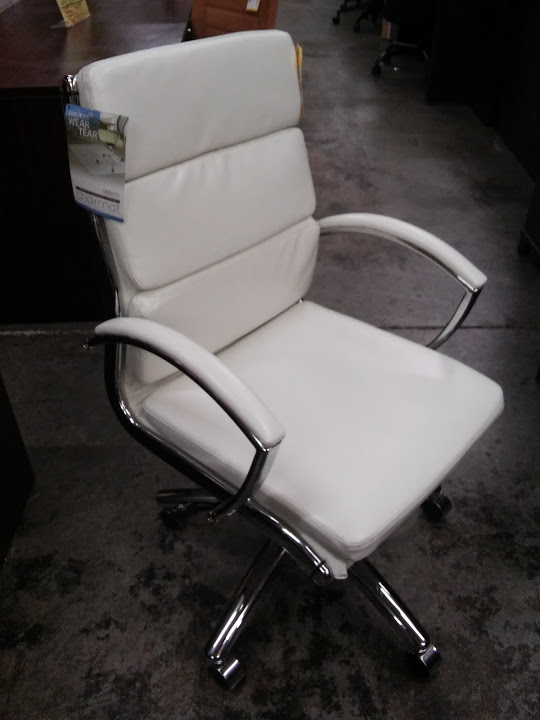 alera office chairs wheelchair hire perth neratoli mid back modern chair white faux leather chrome a m supply