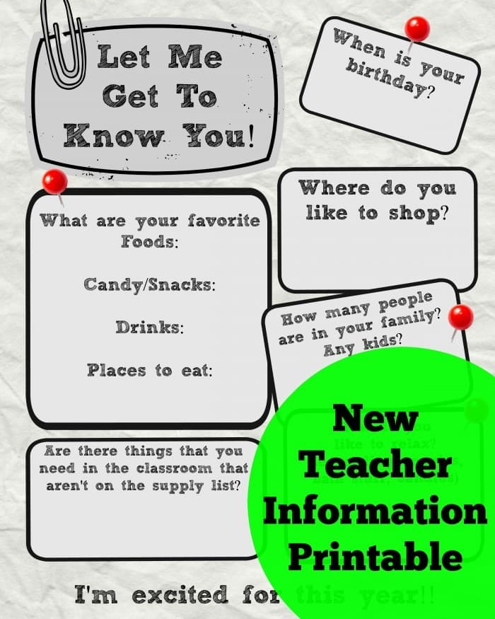Get To Know The Teacher Printable Info Sheet  A Mom's Take