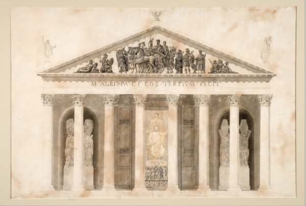 facts about the Pantheon it had decorations in the pediment above the entrance
