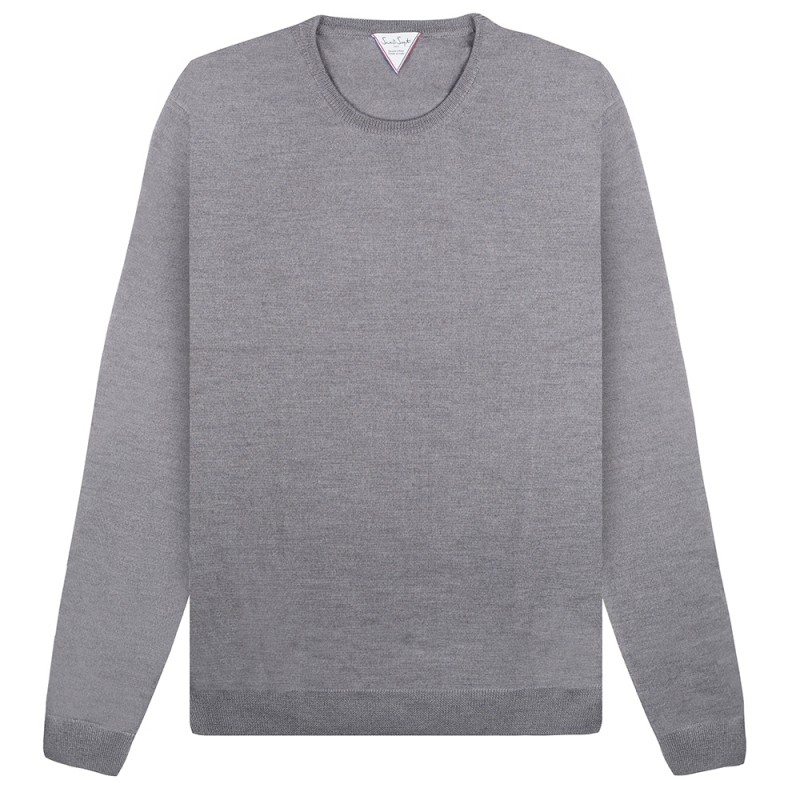 Pull Six & Sept Col Rond Gris Clair