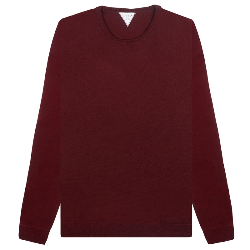 Pull Six & Sept Col Rond Lie de Vin