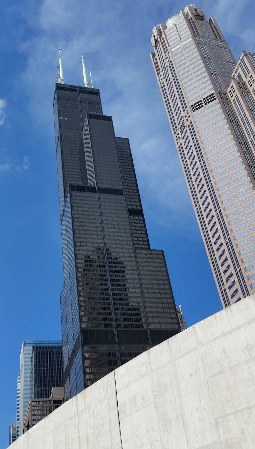 Passing beneath the Sears Tower (now officially called the Willis Tower)